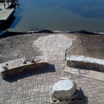 Before picture of permeable paver patio installed in Gilford New Hampshire, Belknap County.