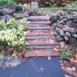 Before picture of stairs in Meredith New Hampshire
