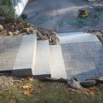 After picture of granite steps and pavers installed in Meredith New Hampshire