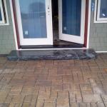 Permeable pavers with Sunapee Black  granite slab